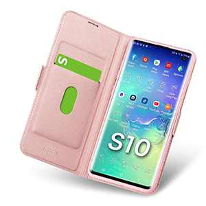 Aunote Samsung S10 Case, Samsung Galaxy S10 Phone Case, Ultra Slim Flip/Folio Cover - Wallet Style: Made of PU Leather (Lightweight, Feels Good) and TPU Inner - Provide Full Body Protection. Rose Gold