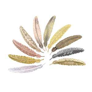 Meeall 10pcs Different Color Vintage Feather Metal Bookmarks