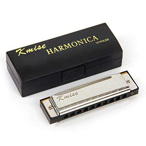 Harmonica French Harp Mouth Organ Phosphor Bronze C Key (10 Tone, Black Inner Case)