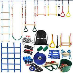 TUAHOO 300lbs 45' Ninja Obstacle Course for Kids Adults Family Outdoor Games Ninja Warrior Training Slackline Hanging Obstacles Backyard Tree Swing Gym Rings Rope Ladder Climbing Net