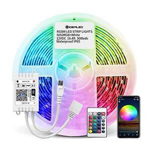 Smart WiFi RGBW LED Strip Lights 16.4ft Kit Work with Alexa and Google Assistant 5pin RGB and Cold White Strip LED Controller with 24 Keys Remote for RGBW Strip Lights 300LEDs,No Hub Required