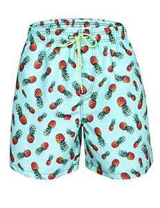 Cogild Mens Swim Trunks, Pineapple Quick Dry Swim Trunks Shorts, Mesh Lining Hawaii Beach Short with Pockets Bathing Suits