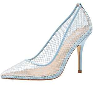 vivianly Womens Clear Pointed Toe Sandals Stiletto Heels Slip on Dress Shoes Blue