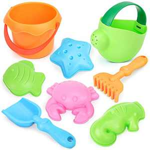 Dreamon Beach Toys 8pcs Set Soft Material Water Bucket Shovel Watering Can Sand Molds Playset with Mesh Bag