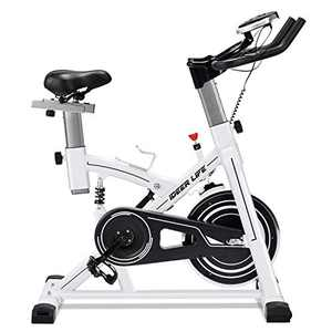 IDEER LIFE Indoor Cycling Bike Stationary Exercise Bike for Home Cardio Workout Smooth Belt Drive with Hand Pulse Sensor/LCD Display/Tablet Mount/Comfortable Seat Cushion(White09062)