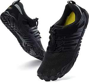 WHITIN Women's Minimalist Barefoot Shoes Zero Drop Sneakers Walking Trail Running Five Fingers Size 8.5 Wide Toe Box for Female Ladies Lightweight Minimal Sneakers Black Hiking Trekking Athletic 39