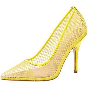 vivianly Womens Clear Pointed Toe Sandals Stiletto Heels Slip on Dress Shoes Yellow