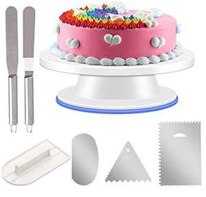 """URMI Cake Turntable, Cake Rotating Plate Stand 11"""" Cake Decorating Equipment with 3 PCS Stainless Steel Cake Scraper 1 PCS Cake Icing Smoother and 2 CPS Icing Spatula for Baking Decorating Pastries"""