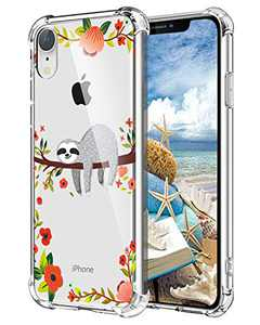 """Hepix Sloth iPhone XR Case Clear Xr Cases, Cute Grey Sloth Hanging on Tree Pattern Protective Slim Flexible Soft TPU Xr Phone Cases with Reinforced Bumpers Anti-Scratch for iPhone XR (6.1"""") 2019"""