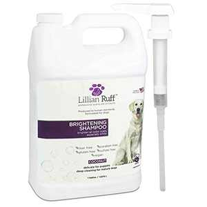 Lillian Ruff Brightening & Whitening Shampoo for Dogs – Tear Free Coconut Scent with Aloe for Dry & Sensitive Skin – Adds Shine & Luster to Coats (1 Gallon with Pump)
