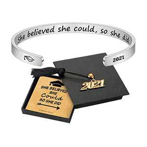 Graduation Gifts for Her 2021 - 316L Stainless Steel Personalized Engraved Mantra Quote She Believed She Could So She Did Bracelets Cuff Bracelet 2021 Graduation Gifts for Her College Graduation Gifts
