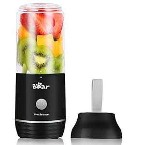 Portable Blender, Bear USB Rechargeable Personal Blender for Shakes and Smoothies, Small Smoothie Single Serve Blender with 11.84oz BPA Free Tritan Blender Cup for Kitchen Home Travel Sports, Black