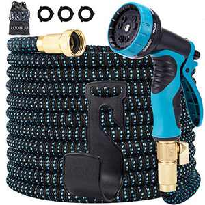LOOHUU Garden Hose 100 Ft Expandable Kit,Water Hose with Superior Strength 3750D/10 Function Spray Nozzle/Resistant 3-Layers Latex, Solid Brass Fittings