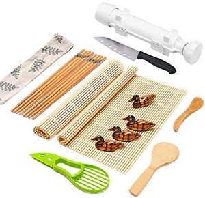 Sushi Making Kit Full Sushi Set for Beginners Sushi Bazooka Maker DIY Sushi Roller Machine with Natural Bamboo Sushi Mats Chopsticks Rice Paddle Spreader, Avocado Slicer, Sushi Knife -16 PACK