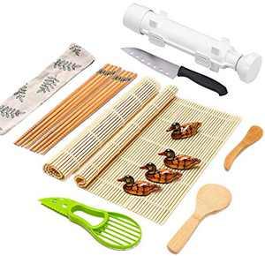 Sushi Making Kit Full Sushi Set for Beginners Sushi Bazooka Maker DIY Sushi Roller Machine with Natural Bamboo Sushi Mats Chopsticks Rice Paddle Spreader, Avocado Slicer, Sushi Knife -16 PACK