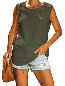 Jeanewpole1 Womens Ripped Casual Tank Tops Sleeveless Crew Neck Loose Summer Shirts Blouses Army Green