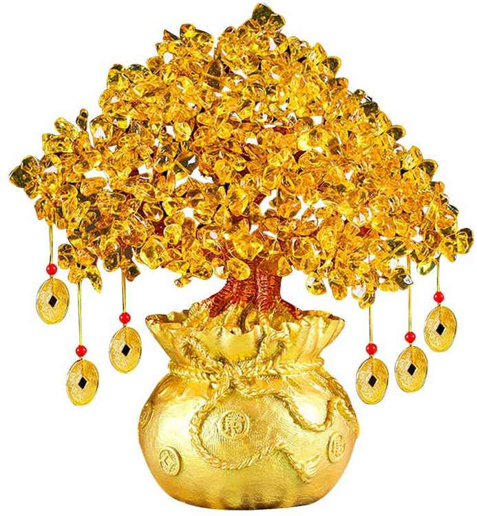 VOSAREA Feng Shui Bonsai Money Tree Crystal Wealth and Luck Tree Table Decorations for Home Office 19cm (Yellow)