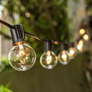 VMANOO Outdoor String Lights 25Ft Globe Patio Lighting G40 Bulbs UL Listed for Outside Yard Gazebo Party Wedding Tents Porch Garden Bistro Pergola Backyard Deck Hanging Indoor Balcony Decor Lights