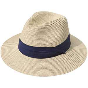 Lanzom Women Wide Brim Straw Panama Roll up Hat Fedora Beach Sun Hat UPF50+ (Z-Navy Ribbon Khaki)