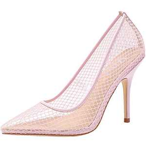 vivianly Womens Clear Pointed Toe Sandals Stiletto Heels Slip on Dress Shoes Pink