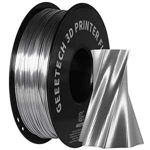 GEEETECH Silk PLA Filament 1.75mm for 3D Printer , Metal-Like Shiny Consumable 1kg (2.2lbs) 1 Spool, Dimensional Accuracy +/- 0.03 mm,Metallic Silver