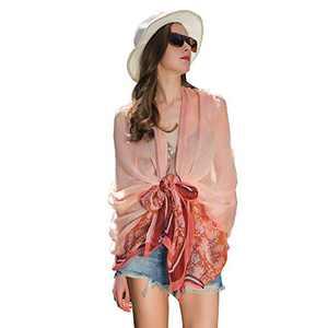 DANA XU 100% Pure Silk Large Size Pashmina Shawls and Wraps Women Scarf (Light Orange)