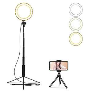 """LEDGLE Upgraded Selfie Ring Light with Tripod Stand & Cell Phone Holder & Selfie Stick 8"""" Dimmable Ring Light with 3 Light Mode and 10 Level Brightness for Live Stream Makeup and YouTube Video"""