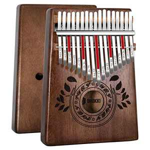 UNOKKI Kalimba 17 Keys Thumb Piano with Study Instruction and Tune Hammer, Portable Solid African Wood Finger Piano, Gift for Kids Adult Beginners (Chocolate Brown)