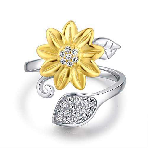 BEILIN Sunflower Ring for Women You are My Sunshine 925 Sterling Silver Ring I Love You Forever Promise Rings Adjustable Ring for Girlfriend Wife Mom (6)