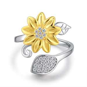 BEILIN Sunflower Ring for Women You are My Sunshine 925 Sterling Silver Ring I Love You Forever Promise Rings Adjustable Ring for Girlfriend Wife Mom (5)