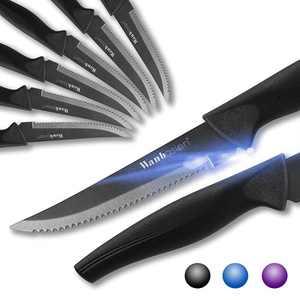 Wanbasion 8-Piece Steak Knife Set Dishwasher Safe, Steak Knife Set Stainless Steel, Kitchen Steak Knife Set Sharp - Scratch Resistant & Rust Proof