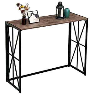 Console Sofa Table for Entryway No Assembly Small Living Room Wall Table for Hallway Folding TV Entrance Table Industrial Kitchen Bar Table Home Office Computer Desk with Metal X-Frame, Rustic Brown