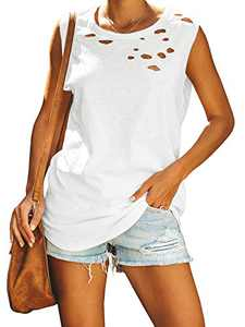 Jeanewpole1 Womens Ripped Casual Tank Tops Sleeveless Crew Neck Loose Summer Shirts Blouses White