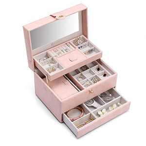 Vlando Jewelry Box Organizer with Mirror, PU Leather Decorative Jewelry Storage Case for Women Girls (Pink)