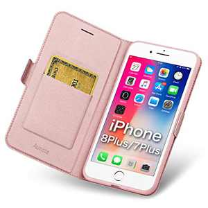 Aunote iPhone 7 Plus/8 Plus Wallet Case, iPhone 7Plus/8Plus Phone Case, Slim Flip/Folio Cover – Book Style: Made of PU Leather (Lightweight, Feels Good) and TPU Inner - Full Protection. Rose Gold