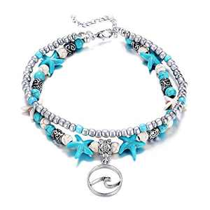 Fesciory Women Starfish Turtle Anklet Multilayer Adjustable Beach Alloy Ankle Foot Chain Bracelet Boho Beads Jewelry(Wave)