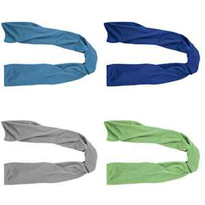 """4 Packs Cooling Towel (40""""x 12""""), Ice Towel, Microfiber Towel, Soft Breathable Chilly Towel Stay Cool for Yoga, Sport, Gym, Workout, Camping, Fitness, Running, Workout & More Activities (Multicolor)"""