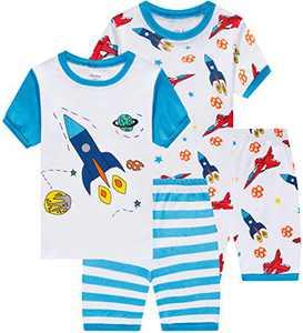 Summer Boys Rocket Pajamasb 4 pieces Baby Airplane Clothes Toddler Kids Short Pj Set 6t