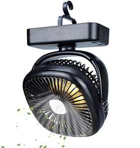 TOMNEW Portable Camping Fan with LED Lights, USB with 5000 mAh Battery Powered, Tent Fan Lights/Personal USB Desk Fan with Hook for Camping,Office,Bedroom