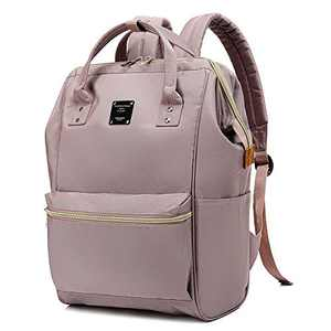 Bebamour Casual College Backpack Lightweight Travel Wide Open Back to School Backpack for Women&Men (Pink)