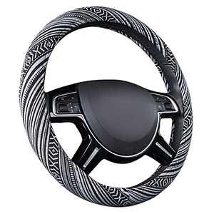 CAR PASS New Arrival Flax Cloth Pretty Ethnic Style Universal Fit Steering Wheel Cover, Fit for Suvs,Sedans,Cars,Trucks (Black And white)