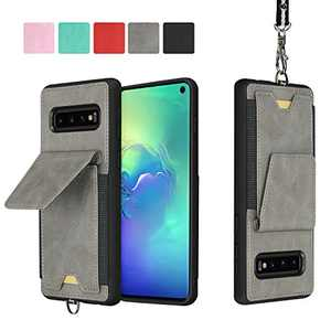 JISON21 Samsung Galaxy S10 Plus Card Holder Case Lanyard Leather Phone Wallet Case with Stand Folio Leather Cases for Samsung Galaxy S10+ 6.4 inch (Gray)