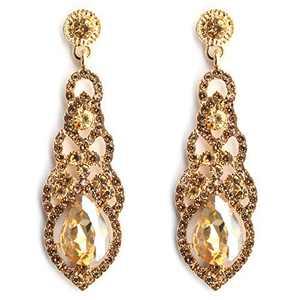 Jarrel Women Rhinestone Dangle Earrings Sparkling Crystal Drop Large Earrings for Wedding & Party - Gold