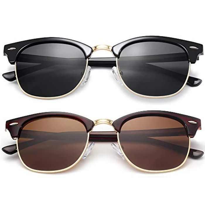 KANASTAL Semi-Rimless Polarised Sunglasses for Men Women, Retro Horn Rimmed Womens Sunglasses UV Protection