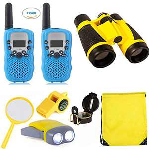 Outdoor Toys for Kids Explorer Kit, 2 Packs Walkie Talkies with 3KM Long Rang/Binoculars for Kids/Flashlight/Compass for Kids Gift for Camping, Hiking, STEM Toys
