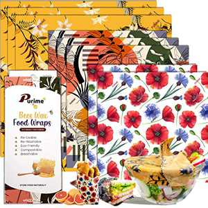 [8 Pack] Beeswax Wrap Reusable Food Wrap for Food Storage Sustainable Organic and Eco Friendly Sandwich Bags 3 Large, 3 Medium, 2 Small