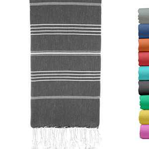 Turkish Beach Towel 37 by 70 Inches Made of 100% Cotton, Ultra Soft and Absorbent, Quick Drying Peshtemal Hammam Towel for Beach, Bath, Yoga, Sauna, Travel and Throw Blanket Black