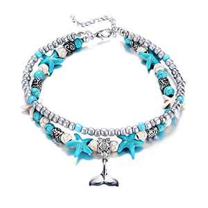 Fesciory Women Starfish Turtle Anklet Multilayer Adjustable Beach Alloy Ankle Foot Chain Bracelet Boho Beads Jewelry(Mermaid)