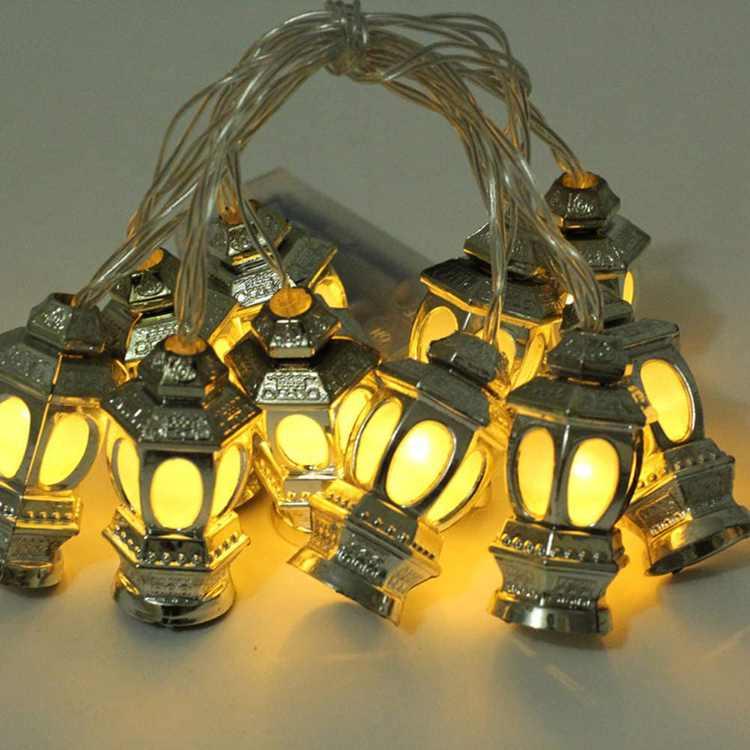 OSALADI LED Muslim Ramadan Lanterns String Lights Eid Light Decoration for Festival Party Bedroom Birthday (Warm White, 1.65m 10LEDs)