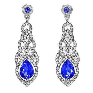 Jarrel Women Rhinestone Dangle Earrings Sparkling Crystal Drop Large Earrings for Wedding & Party - Royal Blue